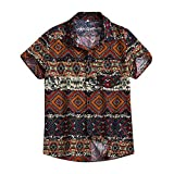 Leey Camicia Etnica Uomo Stampa Tradizionale Hippy Boho Camicia Uomo Eleganti Slim Fit Casual Manica Corta T-Shirt (Marrone, M)