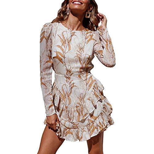 WangsCanis Vestito da Cocktail Donna Elegante Vintage a Maniche Lunghe Schiena Scoperta Abito Linea ad A con Stampa Floreale Casual Sexy (Beige, S)