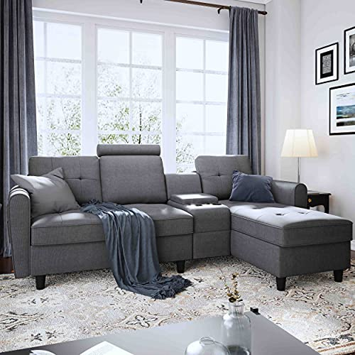 HONBAY Convertible Sectional Sofa with Reversible Chaise Modern Fabric Sectional Couch with Storage Console & Cup Holders L-Shaped Chaise Sofa for Living Room Apartment in Grey