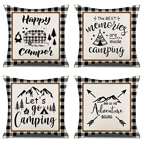 KACOPOL Happy Camper Pillow Covers 18x18 Inch Buffalo Plaid Camper Quotes Farmhouse Home Outdoor Decorative Throw Pillow Cases with RV Travel Car Tent Mountain Tree Decorative Cushion Covers Set of 4