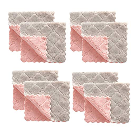 Skxinn 8Pcs Microfaser Geschirrtücher, Weiche, super saugfähige und fussel freie Küchentücher, Antihaft-Öl-Korallen-Samt-hängende Handtücher-Kitchen,Geschirrtücher 27 x 16 cm