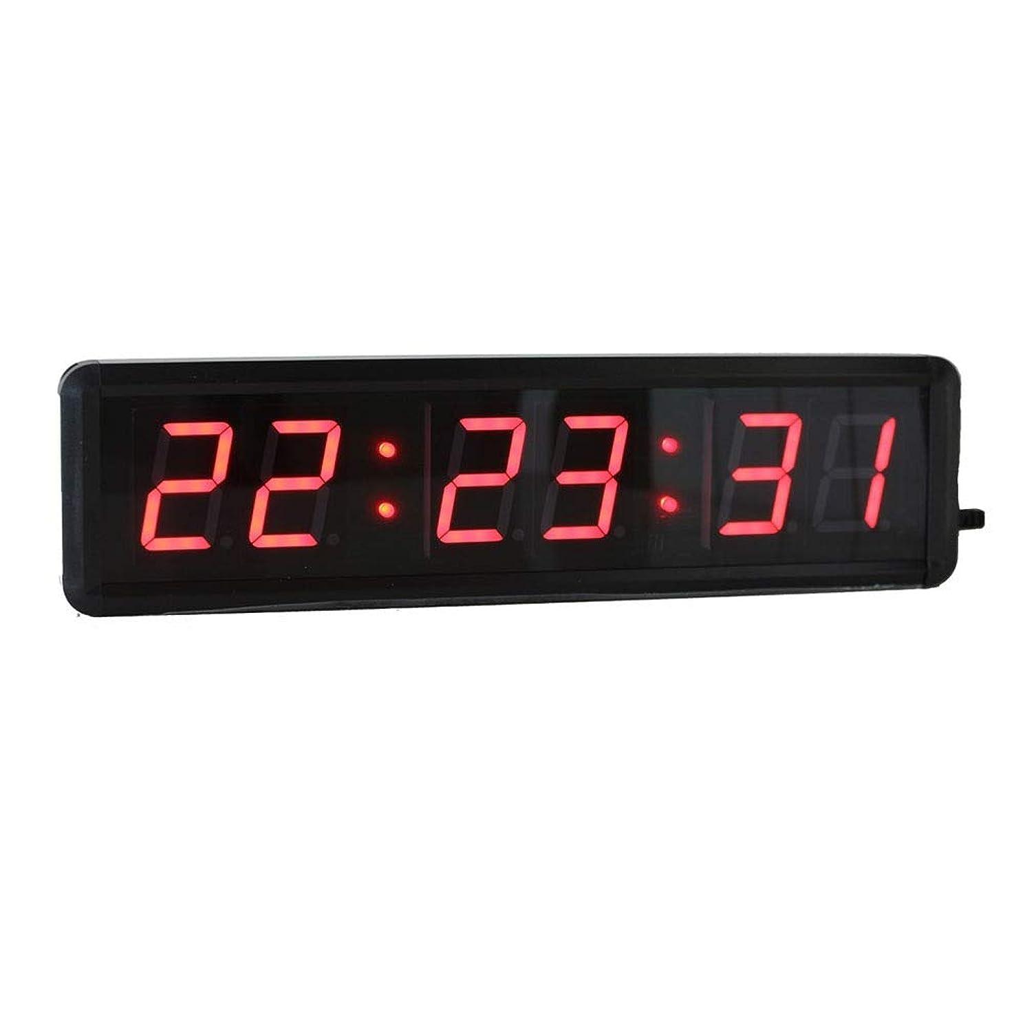 アセ動揺させる好きであるタイマー リモコンフィットネス赤い色で時計ストップウォッチ1.8インチLEDデジタルカウントダウン壁掛け時計カウントダウン/ 桁LEDカウントダウン時間分 (Color : Black, Size : 34x9x3.5cm)