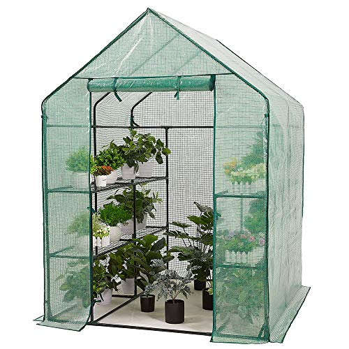AMERLIFE Mini Walk-in Greenhouse 3 Tier 4 Shelves with PVC Cover and Roll-Up Zipper Door,for Indoor Outdoor Use Extra Hooks Wind Ropes, 77''x56''x29''