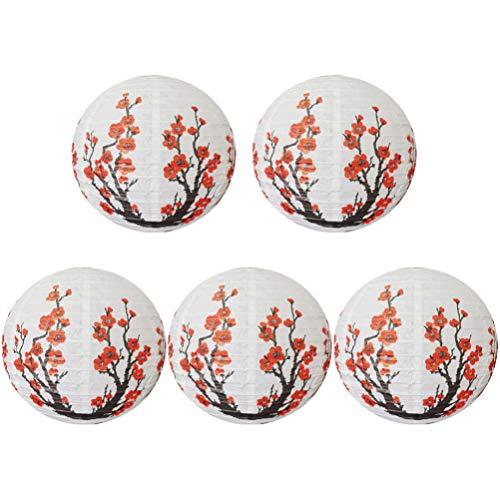 OSALADI 5 Stück Chinesische Japanische Kirschblumen Papierlaterne Hängen Ball Laternen Lampen Dekoration für zu Hause Hochzeitsfeier Wandtür 30Cm (Weiß Rot)