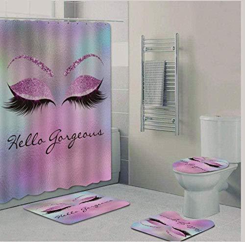 Shower Curtain Sets Girly Rose Gold Eyelash Makeup Shower Curtain Bath Curtain Set Spark Rose Drip Bathroom Curtain Eye Lash Beauty Salon Home Decor Mei T-M