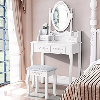 Mecor Vanity Table Set ,Makeup Table with Oval Mirror & Stool Bedroom Wood Dressing Table with 4 Drawers White