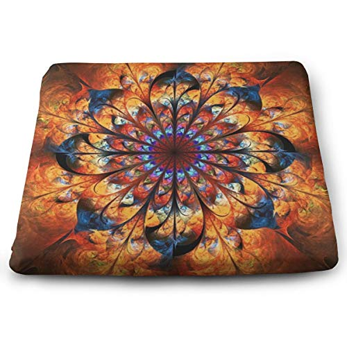 Sanghing Customized Abstract Shiny Golden Mandala Floral Ornament 1.18 X 15 X 13.7 in Cushion, Suitable for Home Office Dining Chair Cushion, Indoor and Outdoor Cushion.