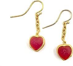 Michael Vincent Michaud Glass Heart Drop Wire Earrings #1105H