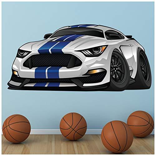 azutura Mustang Bianco e Blu Adesivo Murale Auto Sportiva Adesivo da Parete Garage per Ragazzi Home Decor Disponibile in 8 Misure Gigantesco Digitale