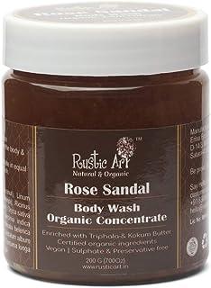 Rustic Art Organic Rose Sandal Body Wash Concentrate, 200 Gm