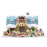 PRETYZOOM Casa de Navidad mini casa de muñecas 3D DIY en miniatura casa kit de construcción Navidad regalo para manualidades Dollhouse modelo maqueta para niños niñas kit de artesanía