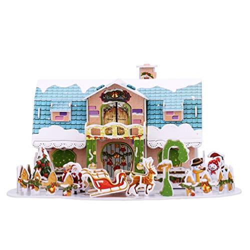 PRETYZOOM Weihnachtshaus Mini Puppenhaus 3D DIY Miniatur Haus Bausatz Weihnachten Geschenk zum Basteln Dollhouse Modell Modellbausatz für Kinder Mädchen Handwerk Kit