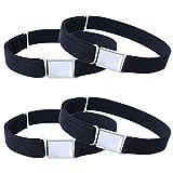 4PCS Kids Boys Adjustable Magnetic Belt - Big Elastic Stretch Belt with Easy Magnetic Buckle (4pcs Black)