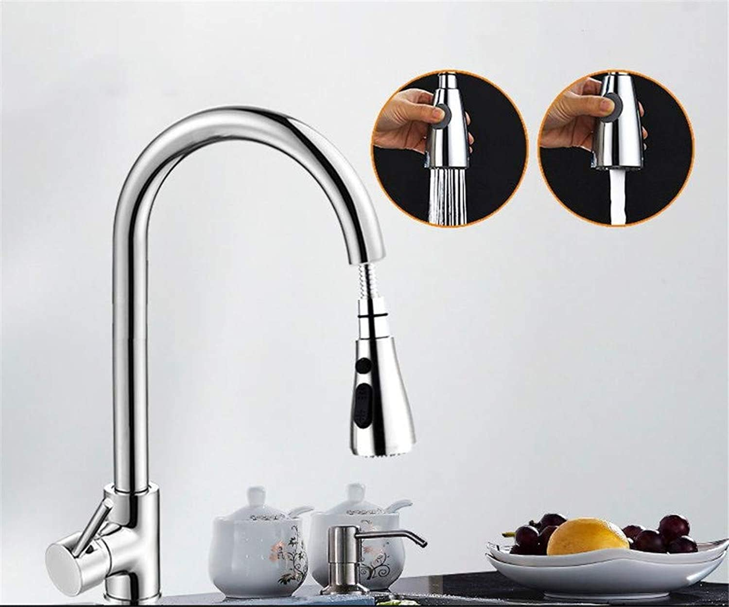 Kitchen Pull-Type Faucet hot and Cold Household 304 Stainless Steel Sink Pool Sink Full Copper Retractable redation,C