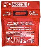 Brandengel Premium Löschdecke 1,60 x 1,80 m Geprüft MPA Dresden nach DIN EN 1869:2001, (auch für Fettbrände), Funkenschutz, roter Tasche Klettverschluß 2 Ösen weißem Hitzebeständigem Glasgewebe
