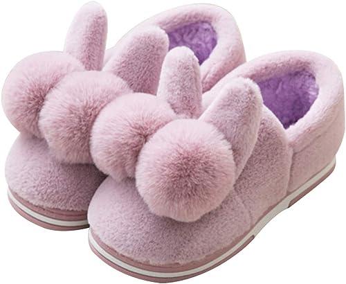 YANQ Pantoufles en Coton d'hiver Les Femmes Portent Un Un Un Sac avec des Les Les dames d'hiver Chaussures de Fourrure antidérapantes en Coton (Couleur   Violet, Taille   27cm) 034