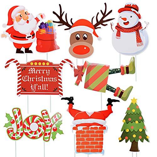 BHGT 8 Stück Weihnachten Gartenstecker Garten Weihnachtsdeko Aussen Rentier Weihnachtsmann Gartendeko Weihnachtsdeko Draußen Deko Stecker Weihnachten Dekostecker Weihnachten Außendeko Weihnachten