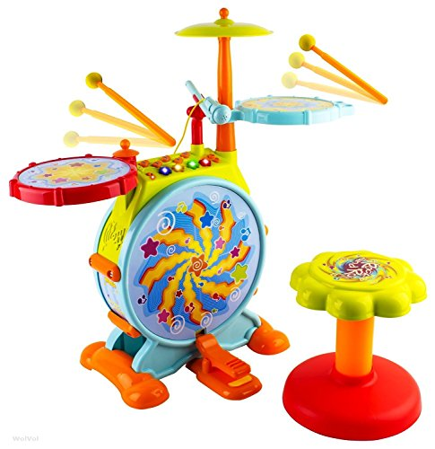WolVol Electric Big Toy Drum Set for Kids with Movable Working Microphone to...