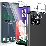 [5 Pack] Ferilinso 3 Piezas Protector de Pantalla para Samsung Galaxy A22 5G Cristal Templado + 2 Piezas Protector cámara Protector de Lente de Cámara [9H Dureza] [Compatible con la funda]