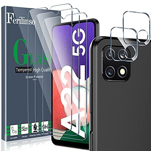 [5 Pack] Ferilinso 3 Piezas Protector de Pantalla para Samsung Galaxy A22...