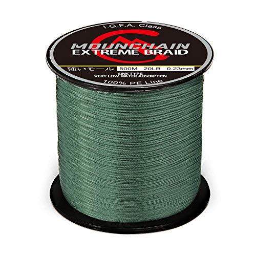 Mounchain 1000M Braided Fishing Line Abrasion Resistant Braided Lines 30LB Test for Saltwater Freshwater 4 Strands Super Strong PE Fishing Line-Dark Green, 1094 Yds