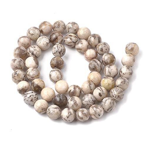 ZEMRIO Cuentas de piedras preciosas naturales de 8 mm para fabricación de joyas, manualidades, pulseras, collares y perlas (campo de campo de campo de 8 mm)