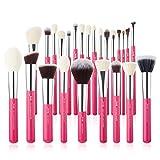 Jessup - Juego de pinceles de maquillaje profesional, 25 piezas, Rojo, premium, base en polvo natural, sombra de ojos, corrector, rubor, resaltado, etiquetado, T195