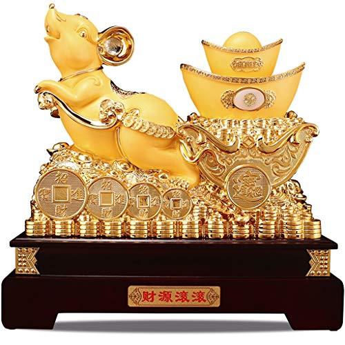 NYKK Estatuas Resina Resina Oro Feng Shui Estatua ratón/Rata del Ministerio del Interior de Mesa Decoración China del Zodiaco Figurita Colección Regalo Decoración Feng Shui