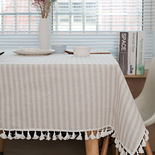 ColorBird Stripe Tassel Tablecloth Cotton Linen Dust-Proof Table Cover for Kitchen Dinning Tabletop Decoration (Rectangle/Oblong, 55 x 70Inch, Beige)