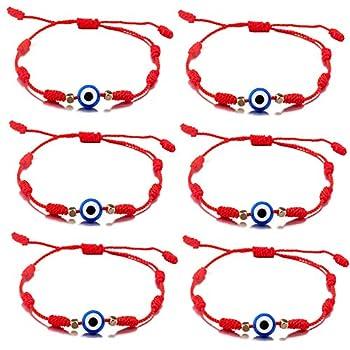 kelistom Evil Eye Hamsa Hand 7 Knot Hand Braided Bracelets for Women Men Teen Girls Boys Red Black String Minimalist Bracelets for Protection and Luck Amulet Jewelry 6 pcs/Set  red-7 Knot