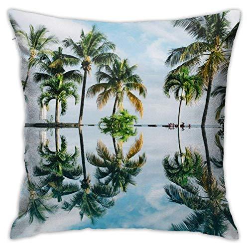 Hangdachang Throw Pillow Case 45cm x 45cm Plam Trees Pillowcase,Square Throw Covers,Decorative Cushion for Sofa Couch Car