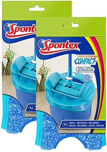 SPONTEX - Lot de 2 Recharges Express System+ Compact - Recharge en microfibre pour kit balai plat Express System+ Compact - 2 Recharges