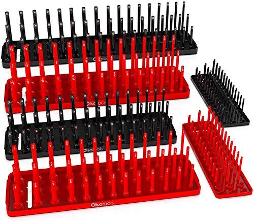 Olsa Tools Socket Organizer Trays   6 PC 3 row trays SAE & Metric Socket Holder   1/4, 3/8, 1/2-Inch Drive   Tool Box Organizer   Storage Deep and Shallow Sockets for Toolboxes   Professional Grade