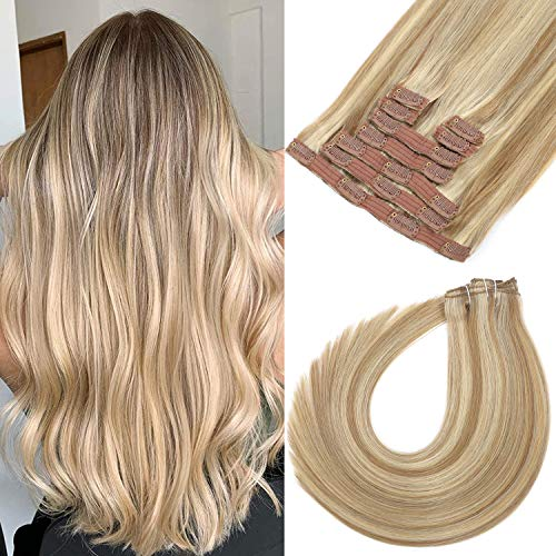 Clip in Hair Extensions 20 Inch 120g 9pcs Light Blonde Highlighted Golden Blonde Clip in Human Hair Extensions Remy Hair Extensions Clip in Human Hair Real Natural Clip on Hair Extensions Double Weft (20 Inch P18/613)