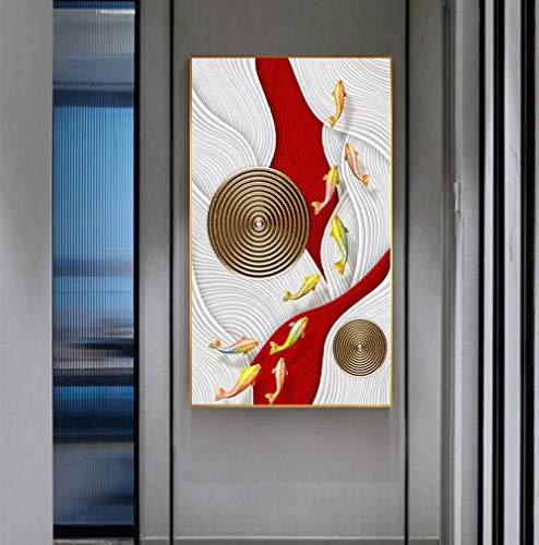 SYFDW canvasdruk koffie keuken abstracte gouden vissen, blauw rood plakfolie luxe wandkunst voor de woonkamer schilderen 50X70CM Frameless