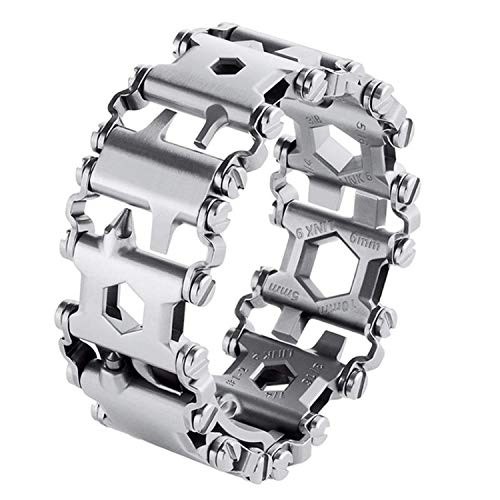 Diamond Survival Multitools Silver Bracelet - Original Travel Friendly Wearable Wilderness Bracelets for Sailing Travel Camping Hiking