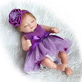 Pinky 26cm 10inch Mini Hard Vinyl Silicone Full Body Reborn Baby Doll Realistic Newborn Dolls with Purple Dress Xmas Birthday Present