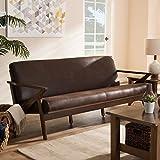 Baxton Studio Bianca Mid-Century Modern Walnut Wood Dark Brown Distressed Faux Leather 3-Seater Sofa Mid-Century/Dark Brown/Walnut Brown/Faux Leather/Rubber Wood/