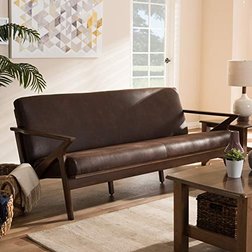 Baxton Studio Bianca Mid-Century Modern Walnut Wood Dark Brown Distressed Faux Leather 3-Seater Sofa Mid-Century/Dark Brown/Walnut Brown/Faux Leather/Rubber Wood/