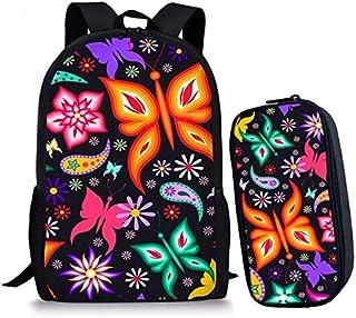 HPADR Mochila Infantil 2 Unids/Set Escuela Bolsas para Adolescentes Niñas Niños Mariposa Impresión Niños Mochila De Moda Conjunto D como imágenes