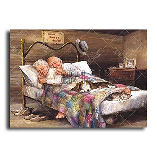 DIY 3D Diamond AIC Old People Full Diamond Painting s Stitch cat Dog Full Round Diamond Embroidery Couples@40x50cm