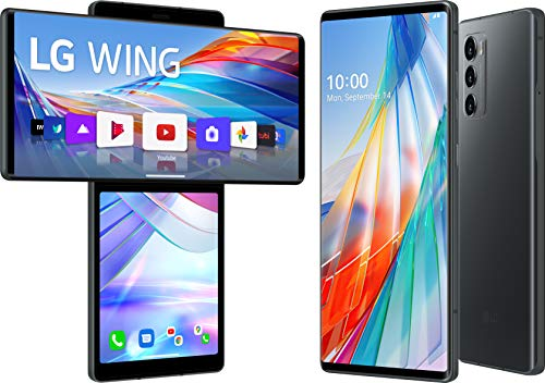 LG WING smartphone 5G con Display OLED 6.8'' ruotabile, schermo secondario 3.9'', Gimbal Motion Camera, Sensore 64MP, Batteria 4000mAh ricarica Wireless, 128GB/8GB, Android 10, Aurora Gray [Italia]