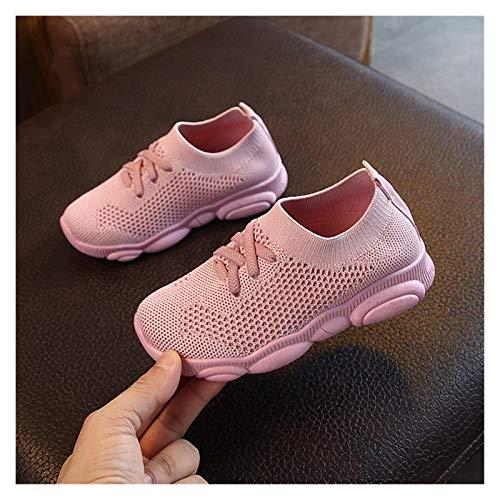 Youpin Zapatillas de deporte para bebé de moda para niños, zapatos planos para bebés y niñas, elásticos de malla transpirable para correr (color: rosa, talla de zapato: 27)