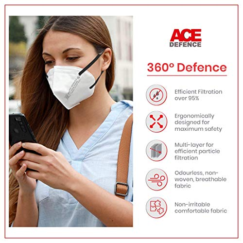Piramal Fabrics Ace Defence Earloop N95 Protective Face Mask   5 Layers of Filtration, Anti-Microbial, Economical, Non-Collapsible Face-Mask - (Pack of 10)