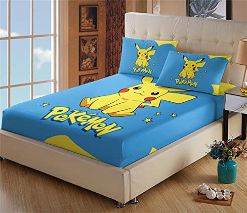 Drap Housse 160x200 Matelas Epais - Drap Plat pour Lit Pokémon Pikachu - Microfibre - Housse Poche Profonde 30cm - Résistant Rides - avec Taies d'oreiller(#3,160 * 200cm + 65 * 65cm × 2)