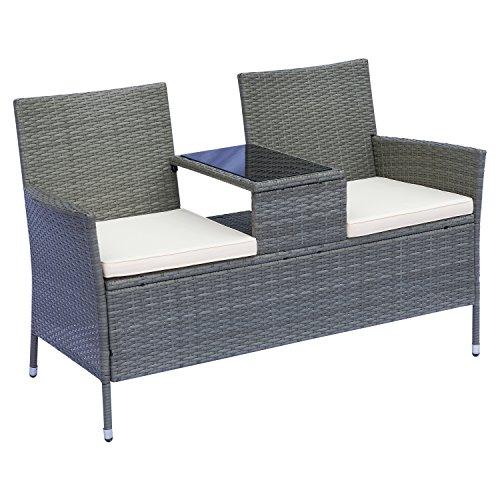 Outsunny Polyrattan Gartenbank Gartensofa Sitzbank mit Tisch 2-Sitzer Stahl GrauB133 x T63 x H84cm