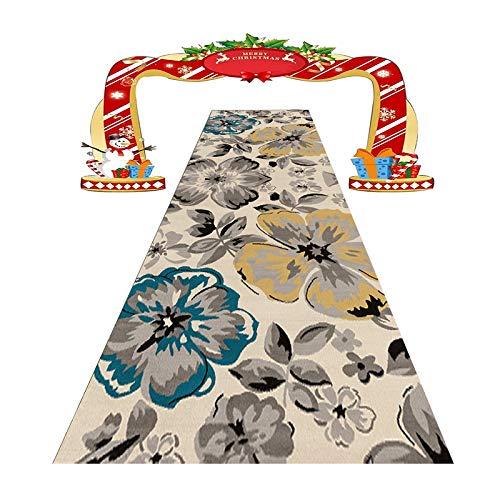 HAOXIANG Vintage Flure Carpet Runners, Area Rugs Runner rutschfeste Floral Allway Carpet Runner, Benutzerdefinierte Länge, Die Dicke Beträgt 0,6 cm, 1㎏ / ㎡,140x800cm/4.59x26.25ft