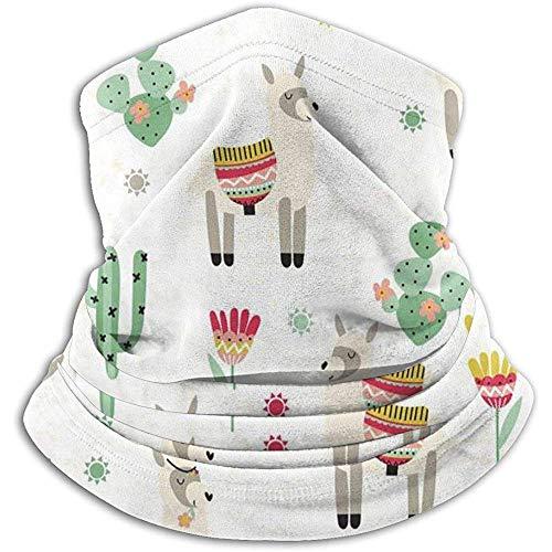 Cactus Flower Sun Llama Calentador de cuello Heat Sun-ProNeck Gaiter Tube Soft Half Mask Unisex Neck Gaiter Cover para esquí
