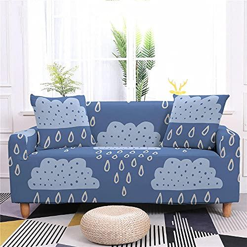 Fundas para Sofa 1 Plazas Gotas De Lluvia De Nubes Azules Funda Elastica Sofa Chaise Longue Fundas Sofa Rinconera con Respaldo Ajustable Antideslizante Protector de Muebles (235cm-300cm)