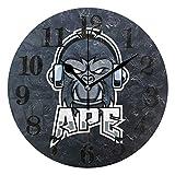 Angry Music Ape Gorilla レトロ サイレント 非刻 壁時計 男の子 女の子 バッテリー駆動 クロック用 リビングルーム ベッドルーム 子供